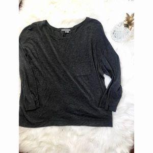 {Vince} Grey 3/4 Sleeve T Shirt Pocket